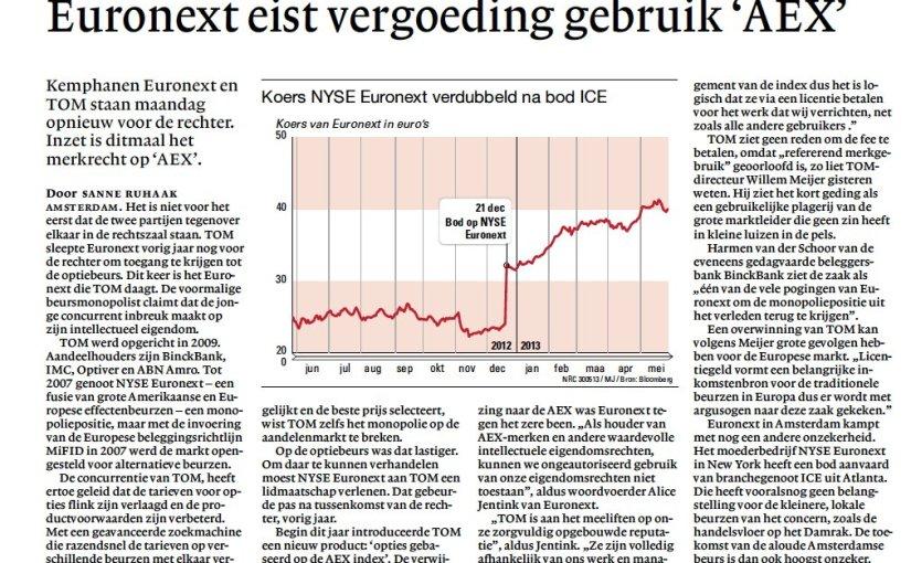 Euronext eist vergoeding gebruik 'AEX' / NRCHandelsblad